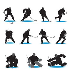 hockey silhouettes vector image vector image
