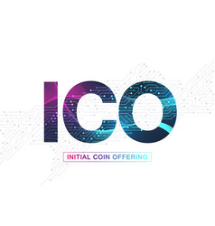 Ico initial coin offering infographic web banner vector