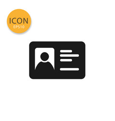 Id card icon isolated flat style vector