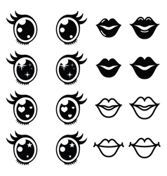 Kawaii cute eyes and lips icons set Kawaii vector image