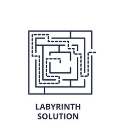 labyrinth solution line icon concept labyrinth vector image