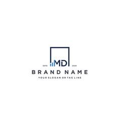 Letter md square logo finance design vector