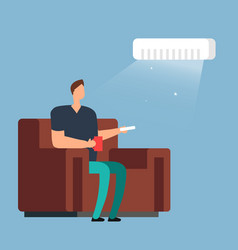Man on sofa under air conditioning room climate vector