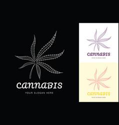 marijuana cannabis leaf line logo vector image