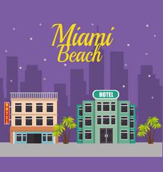 Miami beach cityscape scene vector