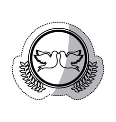 Monochrome sticker of pigeons attached by the peak vector
