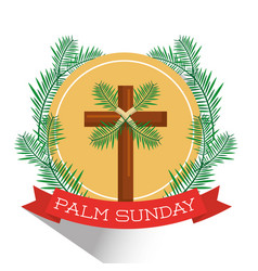 palm sunday cross branch frond ribbon badge shadow vector image