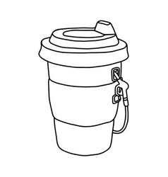 paper cup of takeaway coffee with dispenser vector image