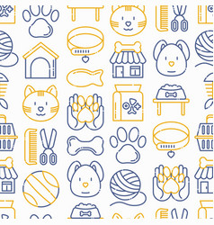Pet shop seamless pattern with thin line icon vector