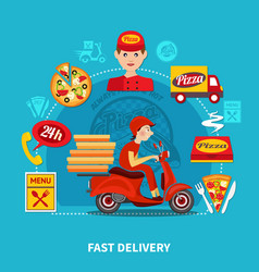 Pizza delivery service composition vector