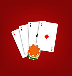 playing cards and chips on a red background vector image