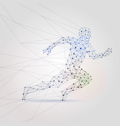 Polygon mesh running male silhouette abstract man vector