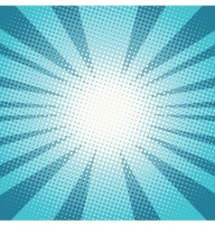 Pop art sun rays blue background vector image