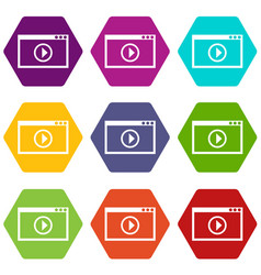 program for video playback icon set color vector image