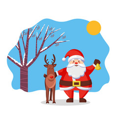 Reindeer and santa claus christmas and new year vector