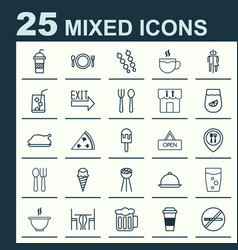 restaurant icons set collection of kitchenware vector image