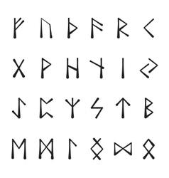 Runic alphabet black vector image