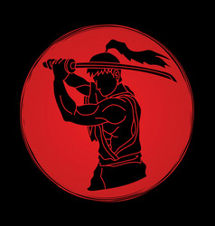 Samurai with sword katana vector