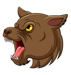 scary dog only head with yellow eyes vector image