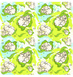 Seamless pattern cauliflower vegetables ornament vector