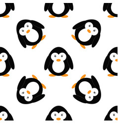 seamless pattern with penguins cute penguin vector image