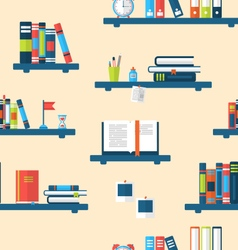 Seamless Texture with Books on Bookshelves vector image