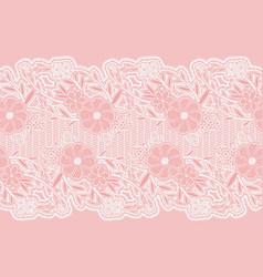 seamless wide lace ribbon white delicate flowers vector image