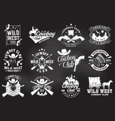 set cowboy club badge on chalkboard vector image