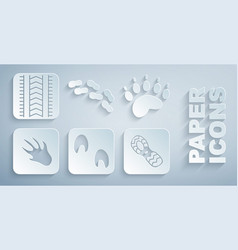 Set horse paw footprint bear alligator crocodile vector