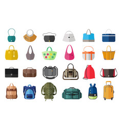 Set of icons of bags and luggage vector