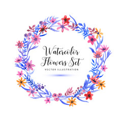 set watercolor florals and brunch and wreatch on a vector image