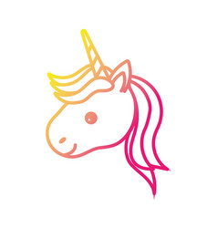 silhouette cute unicorn head with horn and vector image