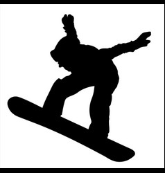 silhouette of a teen snowboarder jumping isolated vector image