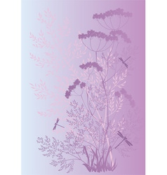 Silhouettes of grass and flowers vector image
