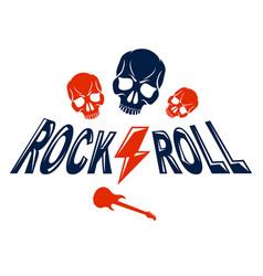 skull in hard rock music logo or emblem vector image