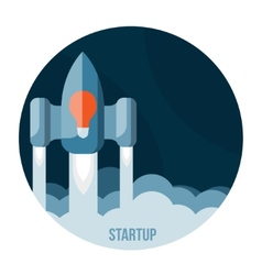 Space rocket flying in sky startup vector image