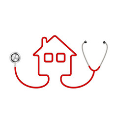 stethoscope in shape of house vector image
