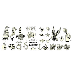 tattoo black white set vector image