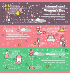 thin line women day web banner template set vector image