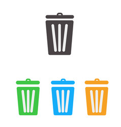 trash icon set bin icon set vector image