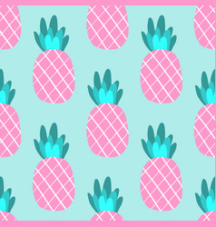 tropical ananas pineapple fruit seamless pattern vector image