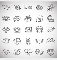 valentines day thin line set on white background vector image