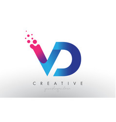 Vd letter design with creative dots bubble vector