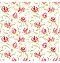 Watercolor gloriosa rothschildiana pattern vector