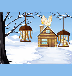 Winter scene with white owls in bird cages vector