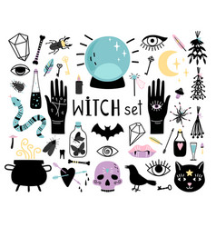 witch magic elements vector image