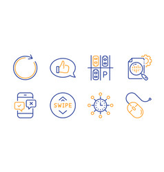 World time feedback and swipe up icons set vector