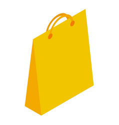 yellow paper shop bag icon isometric style vector image
