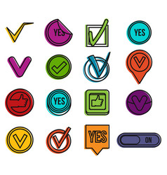 yes icon set color outline style vector image