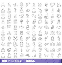 100 personage icons set outline style vector image vector image
